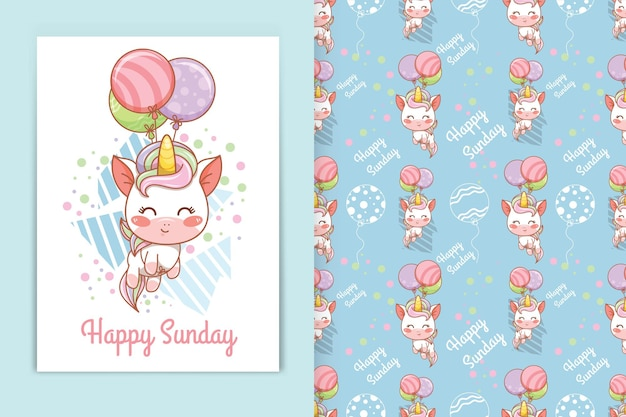 Licorne de bébé mignon avec illustration de dessin animé de ballons et ensemble de modèles sans couture