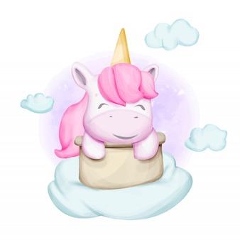 Licorne bébé mignon avec panier