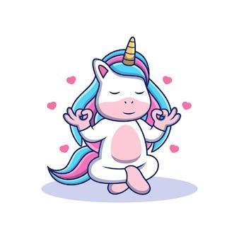 Licorne cartoon détendez-vous avec une pose mignonne. illustration d'icône de vecteur animal, isolée sur le vecteur premium
