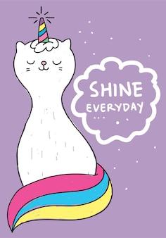 Licorne de chat dessiné à la main pour t-shirt