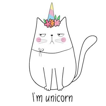 Licorne chat illustration vectorielle drôle animal adorable doodle