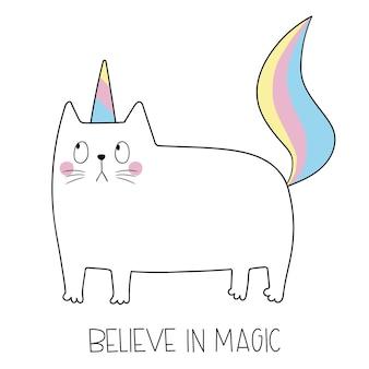 Licorne de chat mignon chat drôle comme la licorne croire en la magie illustration vectorielle drôle