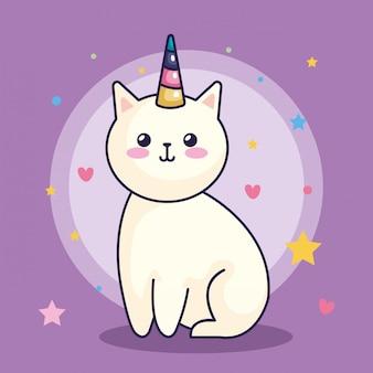 Licorne chat mignon avec décoration coeurs et étoiles vector illustration design