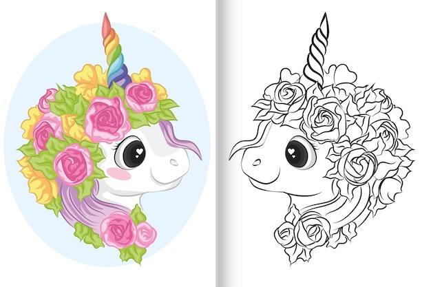 Licorne à colorier avec corne et fleur colorées