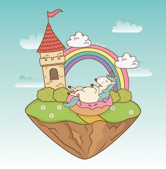 Licorne de conte de fées mignon avec château dans le paysage