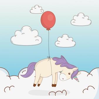 Licorne de conte de fées mignonne avec ballon d'hélium
