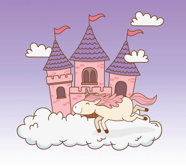 Licorne de conte de fées mignonne avec château dans les nuages
