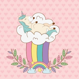 Licorne de conte de fées mignonne en guirlande avec arc-en-ciel