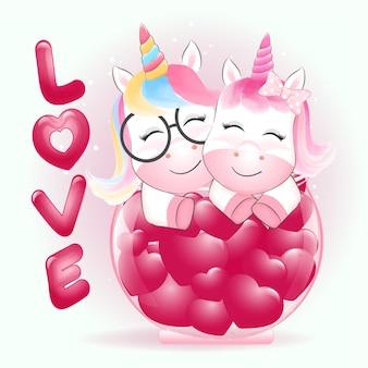 Licorne de couple et coeur en pot concept de la saint-valentin