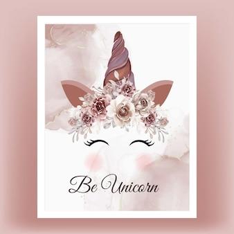 Licorne couronne aquarelle fleur brun terre cuite
