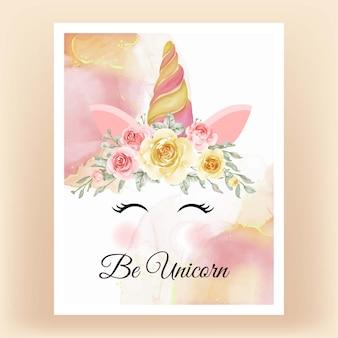 Licorne couronne aquarelle fleur jaune pêche