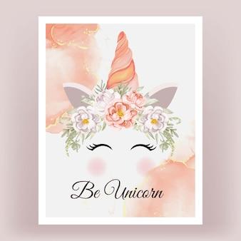 Licorne couronne aquarelle fleur pivoines pêche blanche