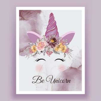 Licorne couronne aquarelle fleur rose violet