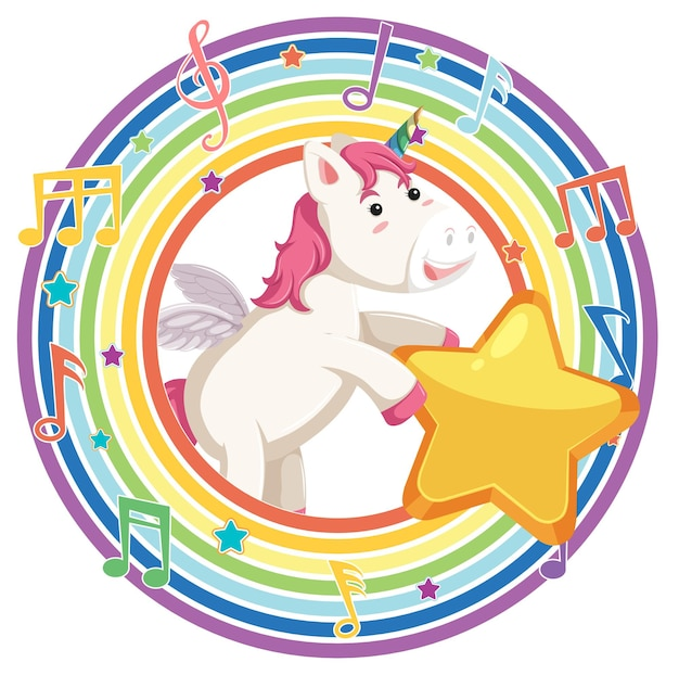 Licorne dans un cadre rond arc-en-ciel avec symbole de mélodie