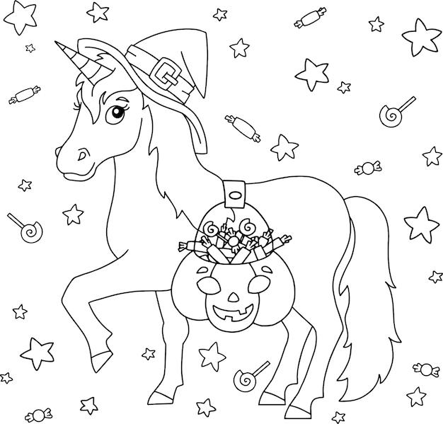 Une licorne dans un chapeau de sorcière porte un panier de citrouilles avec des bonbons thème halloween cheval fée magique