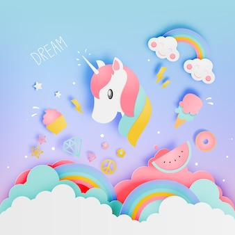 Licorne dans le style art papier avec diverses icônes mignonnes et schème pastel vector illustration s