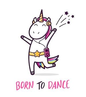 Licorne de danse mignonne. illustration de dessin animé de vecteur