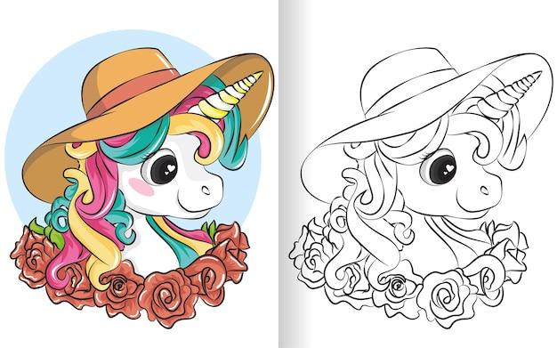 Licorne de dessin animé mignon avec chapeau d'été. livre de coloriage noir et blanc