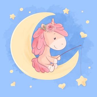 Licorne dessin animé mignon est assis sur la lune et attrape l'illustration des étoiles