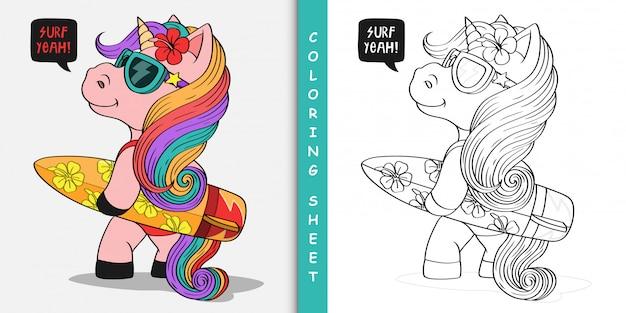 Licorne de dessin animé avec planche de surf, feuille à colorier