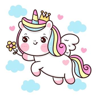 Licorne dessin animé princesse pegasus tenant animal kawaii fleur