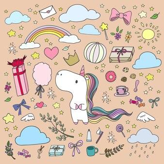 Licorne dessiné à la main et des éléments heureux dans le style doodle.