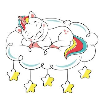 Licorne dormant sur un nuage. illustration vectorielle de dessin animé