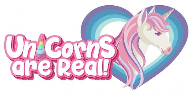 La licorne est un vrai logo de couleur pastel avec une jolie licorne dans un cadre en forme de coeur