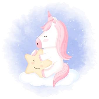 Licorne avec étoile sur nuage dessin animé dessiné à la main