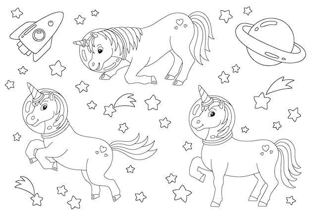 Licorne fée magique cheval mignon page de livre de coloriage pour les enfants