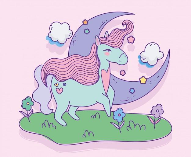 Licorne avec des fleurs de lune de coeur dans le dessin animé magique de fantaisie de pré
