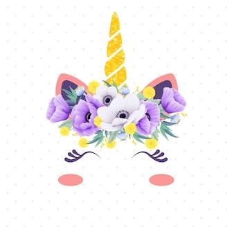 Licorne florale mignonne