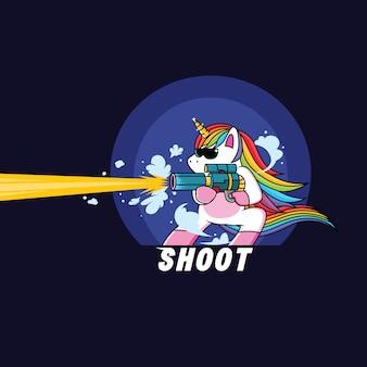 Licorne avec un fusil de chasse
