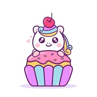 Licorne heureuse mignonne avec cupcake