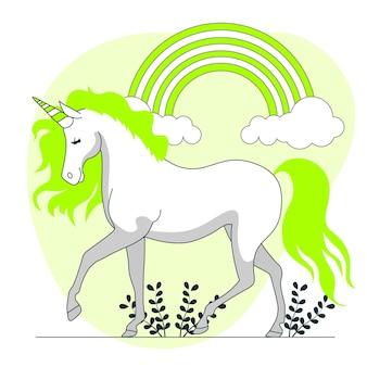 Licorne avec illustration de concept arc-en-ciel