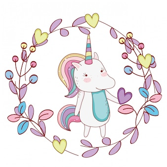 Licorne à l'intérieur de la couronne de dessins animés mignons