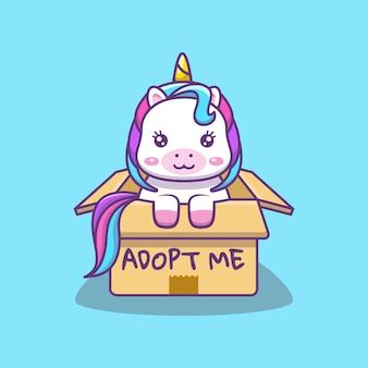 Licorne kawaii mignonne dans une illustration de dessin animé de boîte