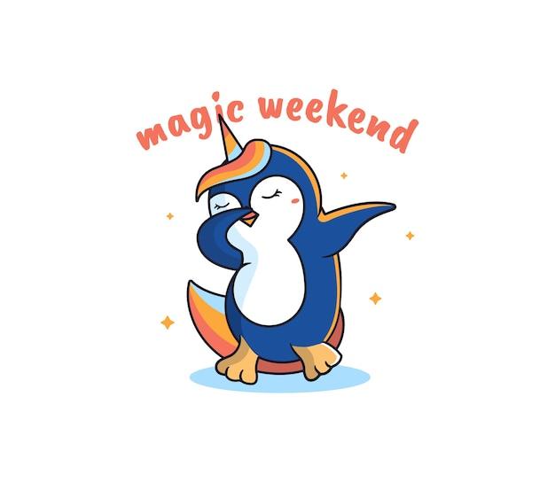 La licorne magique est un pingouin. danse dessin animé arc-en-ciel-animal, avec une phrase de lettrage, forme d'étoiles.