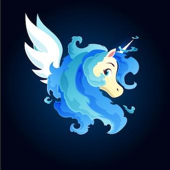 Licorne magique feu bleu