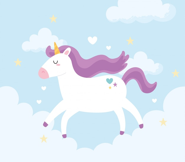 Licorne magique mignonne en cours d'exécution ciel nuages illustration vectorielle de dessin animé animal fantastique