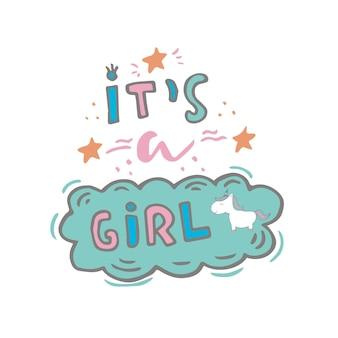 Licorne magique mignonne. graphiques pour enfants doux pour t-shirts, baby shower, carte postale, affiche, bannières, album, autocollant, conception d'invitation. illustration vectorielle avec art de pépinière doodle.