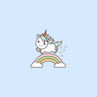 Licorne mignon avec un arc-en-ciel, illustration vectorielle