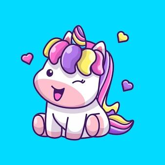 Licorne mignon assis icône illustration. personnage de dessin animé de mascotte de licorne. concept d'icône animale isolé