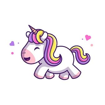 Licorne mignon marchant icône illustration. personnage de dessin animé de mascotte de licorne. concept icône animal blanc isolé