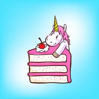 Licorne mignon avec un morceau de gâteau