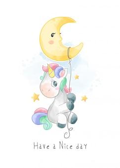 Licorne mignonne accrochée à l'illustration de la lune