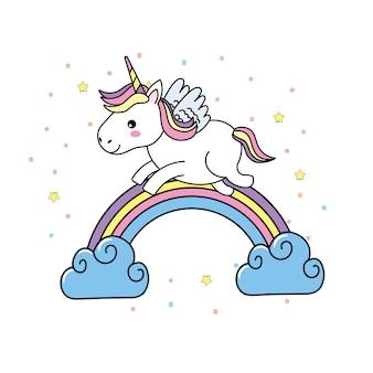 Licorne mignonne avec des ailes et arc-en-ciel avec des nuages
