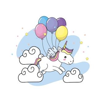 Licorne mignonne avec des ailes et des ballons et des nuages