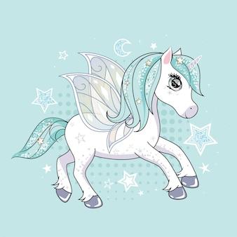 Licorne mignonne avec des ailes de papillon et des cheveux scintillants sur fond d'étoiles