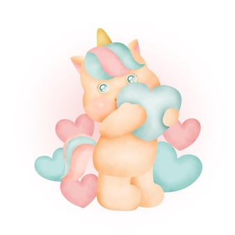 Licorne mignonne aquarelle avec des coeurs.